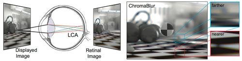 デフォーカスと色収差を考慮に入れ自然観察で生じるものに近い網膜画像を生成する色補正レンダリング方式