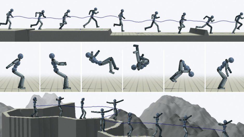 仮想キャラクタのアクロバットな動きをよりリアルに再現する強化学習を用いた手法