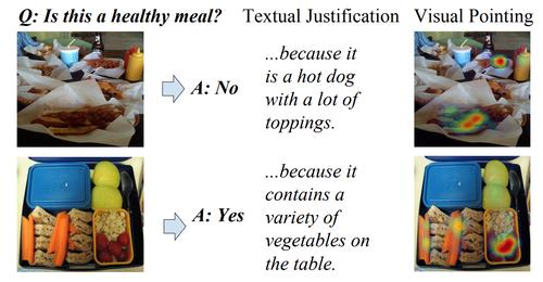 画像に関する質問に回答し、その根拠を文字で説明、さらに根拠となる箇所を画像内で視覚的に示すニューラルネットワークモデル