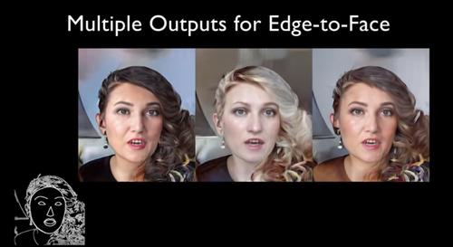顔のエッジ映像から様々なリアル顔映像に変換するGANを用いた手法
