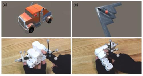複数の小型自走ロボットがレゴのように引っ付き合いVR内の物体を再現
