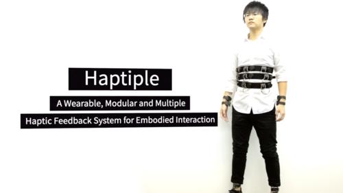 振動、圧力、温冷、風を同時に体感 ウェアラブル端末「Haptiple」
