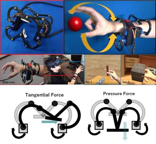 バーチャルオブジェクトを触った際に、本来指先で生じる触覚情報を前腕部に提示する触覚フィードバックデバイス