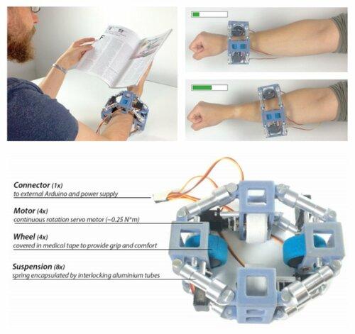 前腕を移動することで触覚フィードバックを生成する自己駆動型ブレスレット
