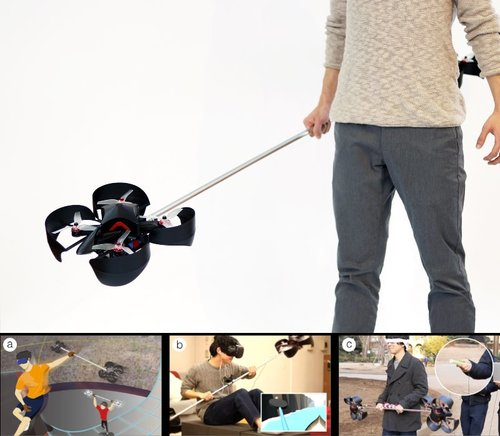 VR/ARにおける触覚を再現する2つのロータユニットで構成された棒状デバイス