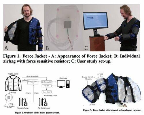 VRにおける接触時の触覚を上半身に伝える空気圧式エアバッグを備えた着用型触覚システム