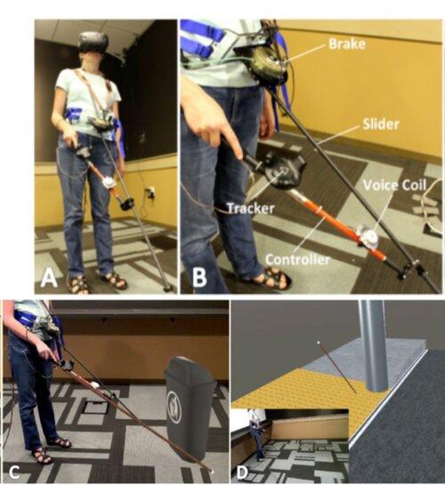 視覚障害者がVRでナビゲートできるようにする白杖をシミュレーションした新しい触覚杖コントローラ