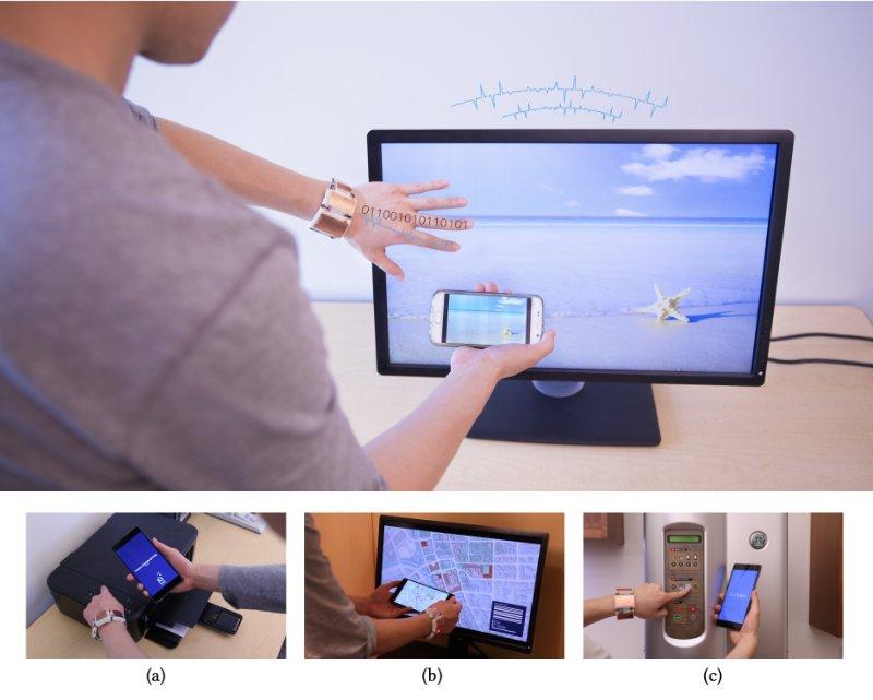 無線機能がない電子機器でも指タッチするとデータ送信が可能になる技術