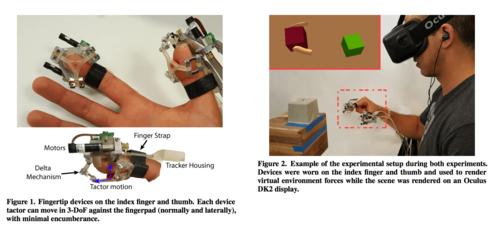 VR内仮想オブジェクトを触った感触を伝える指先装着型触覚フィードバック・デバイス