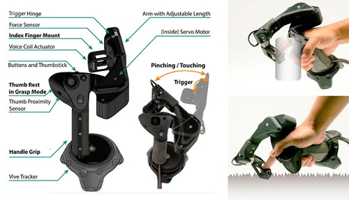 人差し指に動作を加えてVR内の触覚を再現するハンドヘルドVRハプティックコントローラ