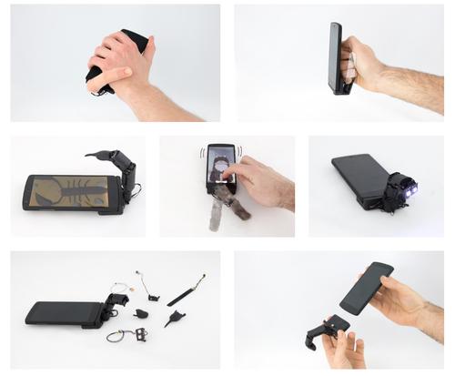 モバイルデバイスに装着し使用する5自由度の小型ロボット