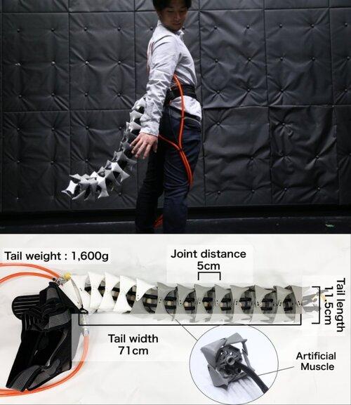 脊椎動物の尻尾を模倣したウェアラブルロボットテールデバイス「Arque」