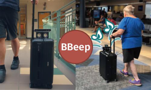混雑した環境における視覚障害者と歩行者の衝突回避支援スーツケース「BBeep」