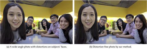 広角カメラで撮影した画像の両サイドに写る被写体の顔の歪みを補正するアルゴリズム