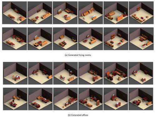 もっともらしい3D屋内シーンを効率的に大量生成できるニューラルネットワーク