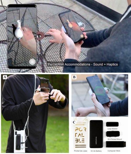 スマートフォンの裏にハンドトラッカーを取付けARコンテンツを掴めるようにしたシステム