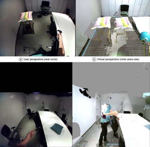 VRヘッドセットを用いて、その部屋のライブ3D再構築をインタラクティブに体験できるシステム