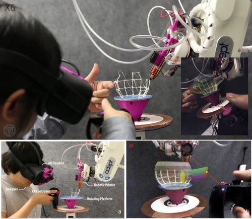 直観的にモデリングしながら同時にロボットアームが3Dプリントしてくれるシステム