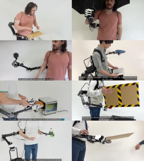 直感的に操作できる背中装着型のウェアラブルロボットアーム