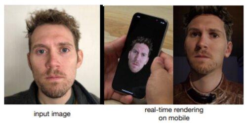 1枚の顔画像からモバイル端末に写実的な3Dアバターを作成し、自身の顔を介して動かせるdeep learningモデル「paGAN」