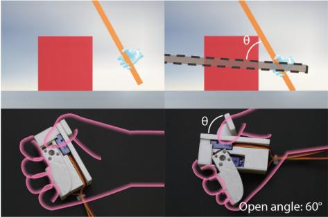 仮想スティックを物体に衝突させた際の触覚を再現するハンドヘルドVRデバイス「PaCaPa」