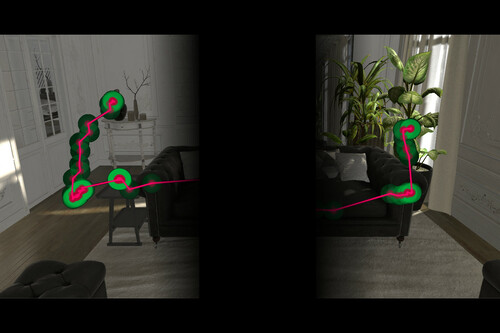 VR体験者の目の瞬き時に仮想シーンを少し回転させるリダイレクトウォーキング技術