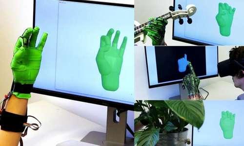 外部光学機器を必要とせずにリアルタイムに手のポーズを推定するdeep learningを用いたストレッチセンシングソフトグローブ