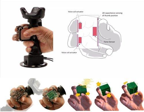 弾性物体の柔らかさ等を再現する触覚ハンドヘルドコントローラ